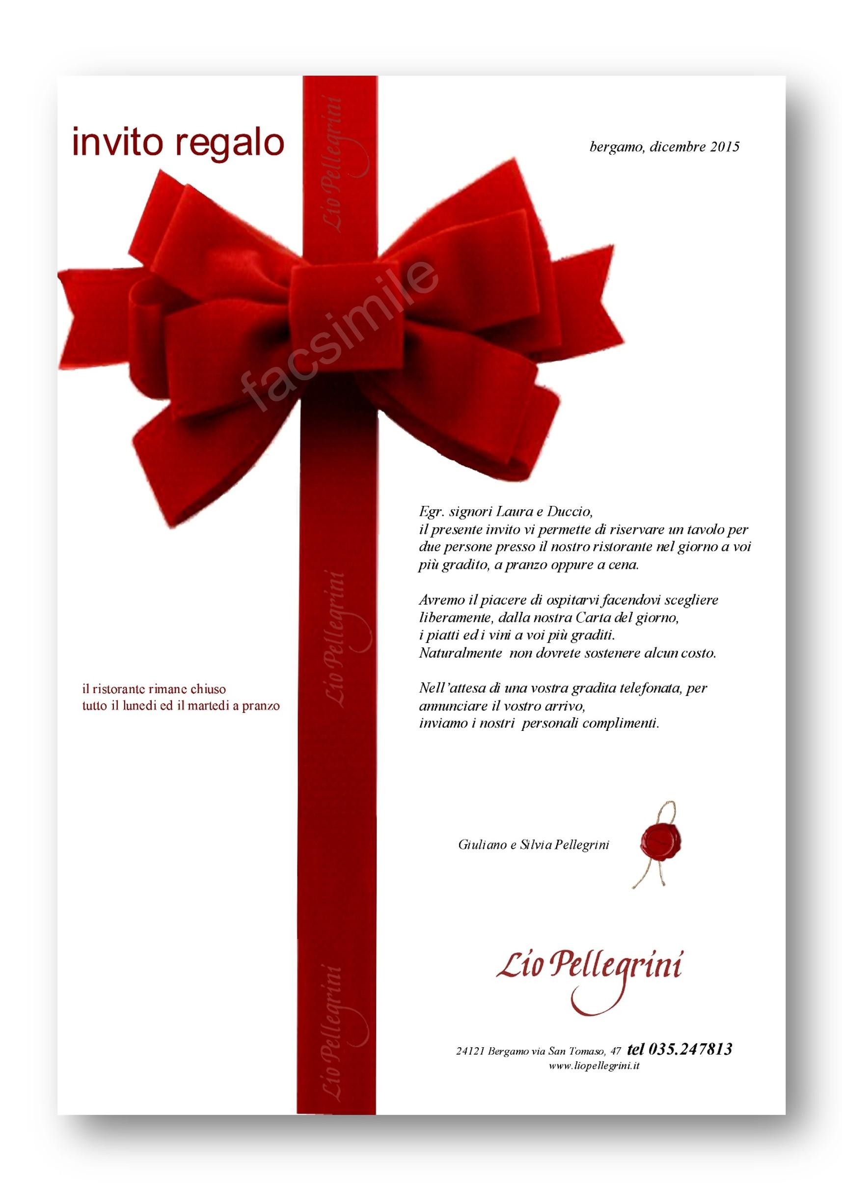 regala una cena | Lio Pellegrini Ristorante